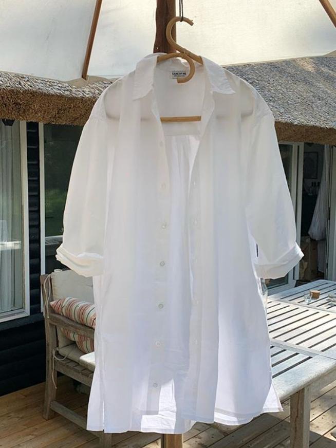 Langes Hemd aus zertfiziertem Poplin
